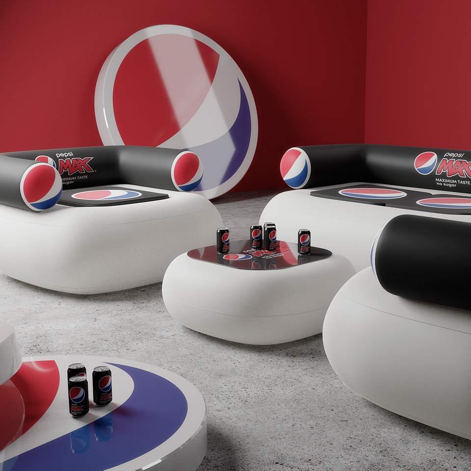 Oppustelige eventmøbler, oppustelig sofa og stol med logo